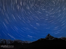Star Trails over Machhapuchhre Mountain